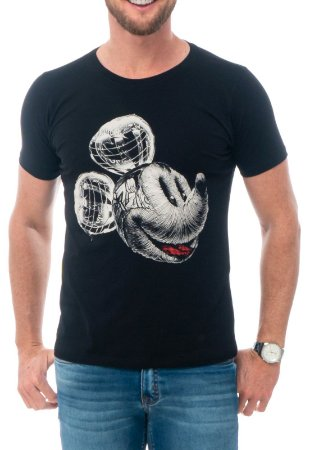 CAMISETA MICKEY HEAD RED FEATHER