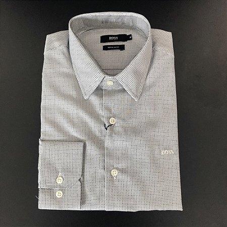 Camisa Social Hugo Boss Masculina Cinza claro