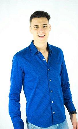 Camisa Social Hugo Boss Masculina Azul