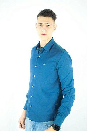 Camisa Social Hugo Boss Masculina Azul maquinada