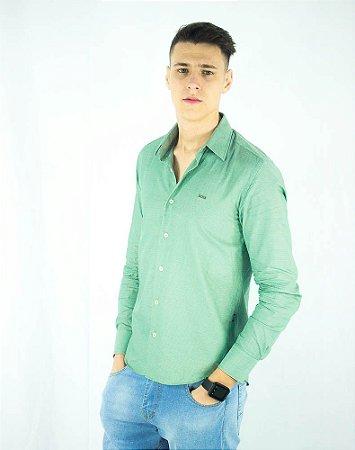 Camisa Social Hugo Boss Masculina Verde