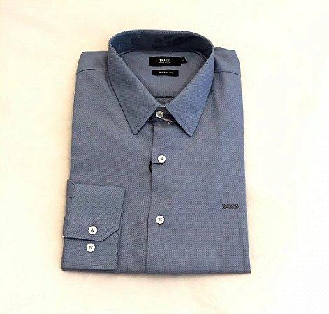 Camisa Social Hugo Boss Masculina Azulada