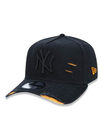 BONÉ NEW ERA  ABA CURVA DESTROYED MLB NEW YORK PRETO