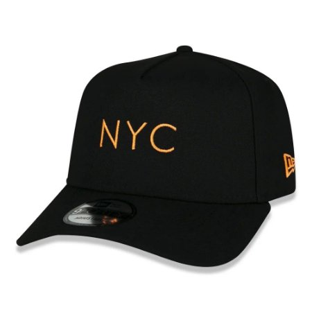 BONÉ NEW ERA SIMPLE SIGNATURE FLUOR NYC PRETO e LARANJA