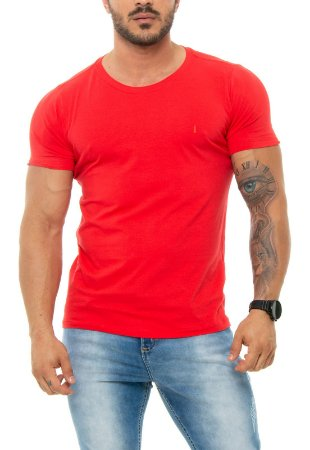 CAMISETA RED FEATHER BÁSICA MASCULINA VERMELHA