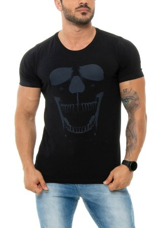 CAMISETA RED FEATHER NEON SKULL MASCULINA