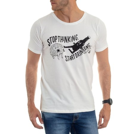 CAMISETA RED FEATHER START DRINKING MASCULINA