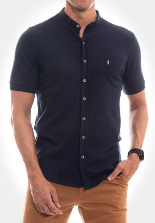 CAMISA RED FEATHER GOLA PADRE PIQUET AZUL