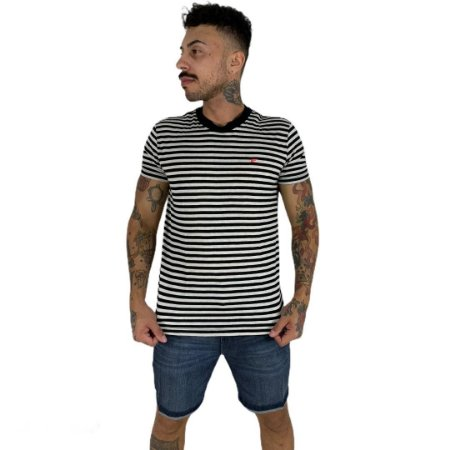 Camiseta Ellus Visco Linen e Asa Stripe