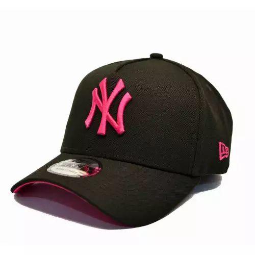 Bone New Era Mlb 9forty A-Frame Yankees Preto Pink