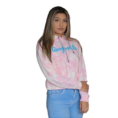 Blusa de Moletom Feminina AÉROPOSTALE Tie Dye Rosa