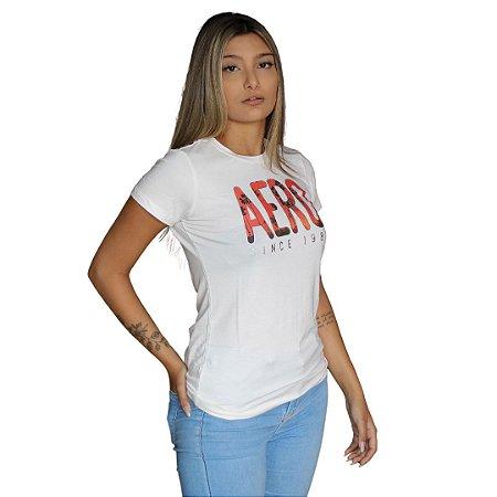 Camiseta Feminina AÉROPOSTALE Palmeiras Creme