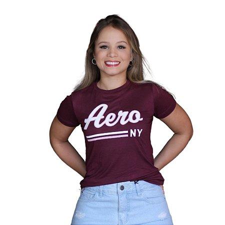 Camiseta Feminina AÉROPOSTALE Logo Aero Vintage Beterraba