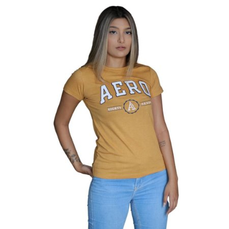 Camiseta Feminina AÉROPOSTALE Eighty Seven Mostarda