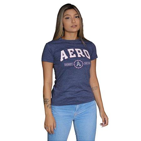 Camiseta Feminina AÉROPOSTALE Eighty Seven Azul Marinho