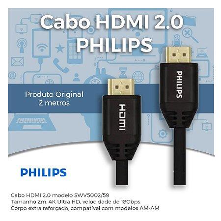 Cabo HDMI 2.0 4K Premium - High Speed - Tipo AM-AM - Tamanho 2m - Original PHILIPS