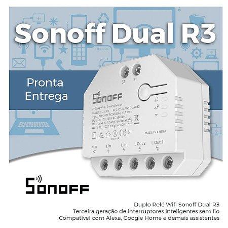 Sonoff Dual R3 2 Canais - Múltiplo Relé Wifi - 2 Canais Automação, Iluminação, Motores, Persianas