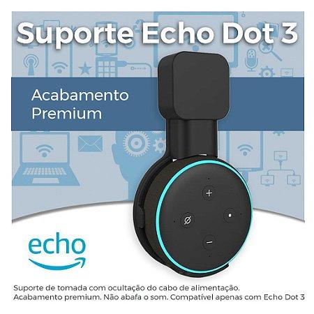 Suporte Echo Dot 3 - Terceira Geração - Suporte de Tomada Echodot - Acabamento Premium - Amazon Alexa