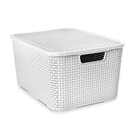 Caixa organizadora 20 litros rattan Arqplast - Branca