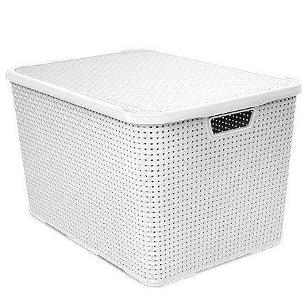 Caixa organizadora 40 litros rattan Arqplast - Branca