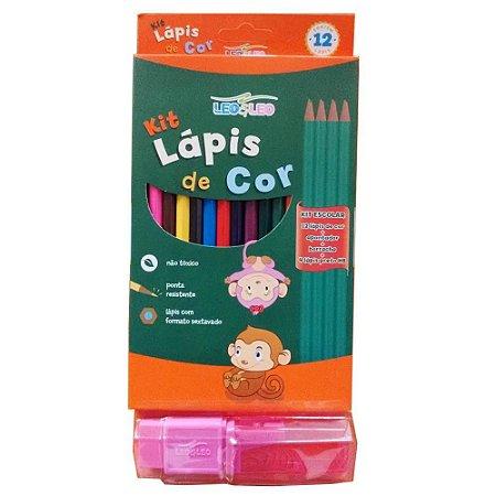 Kit Lápis de cor 18 peças - 12 lápis de cor + 1 apontador + 1 borracha com cinta + 4 lápis preto - Leo&Leo