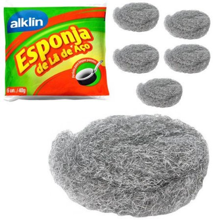 Esponja de lã de aço 6 unidades Alklin