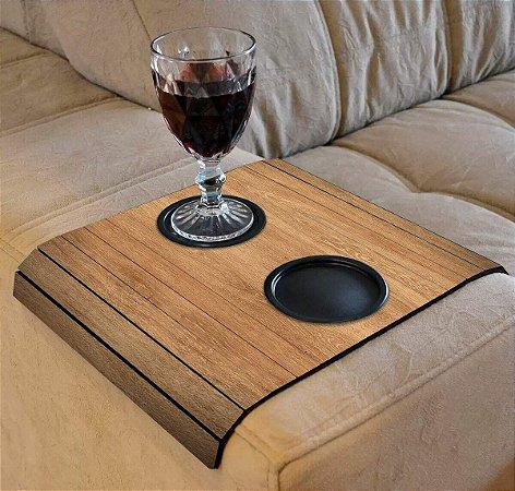 Porta copo de madeira para sofá 48x32cm - AREZO
