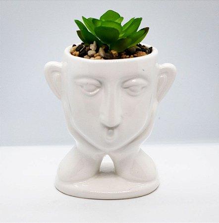 Vaso decorativo com rosto + planta suculenta