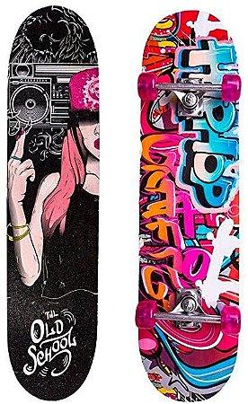 """Skate feminino """"Till old school"""" kit 4 peças - Unik"""