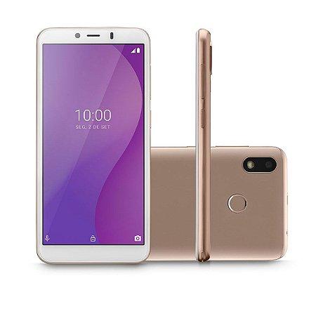 """CELULAR SMARTPHONE MULTI G 4G 32GB TELA 5.5"""" OCTA CORE SENSOR DE DIGITAIS P9133 DOURADO"""