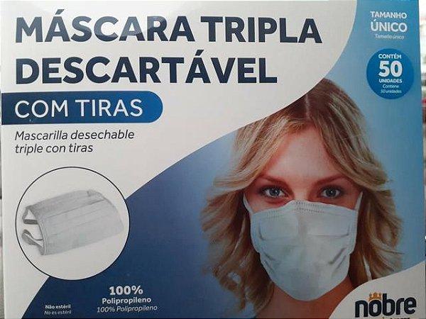 MASCARA TRIPLA DESCARTAVEL COM TIRAS (CX C/50UN) NOBRE