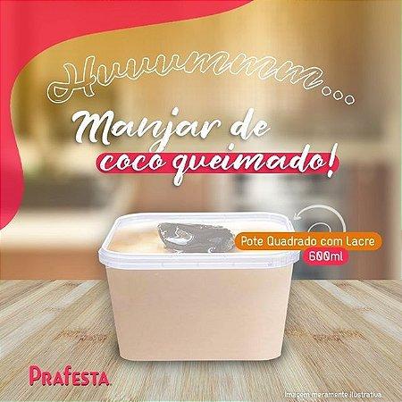 POTE C/ TAMPA QUADRADO C/ LACRE (600ml) C/10un (PRAFESTA)