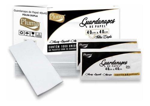 GUARDANAPO (PLUMA) RETANGULAR F. DUPLA 40X40 G (C/25fls) CX C/ 40pct
