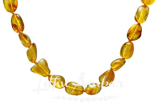 Colar de âmbar para adulto - mel oliva polido