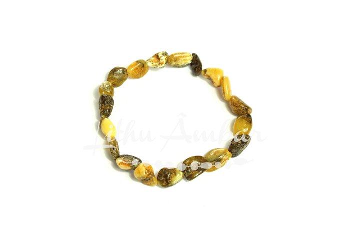 Pulseira de âmbar para adultos - curativo mesclado oliva polido