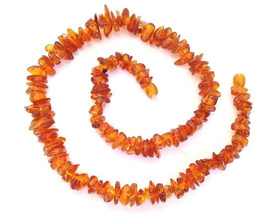 Colar de âmbar para adultos - Conhaque chips polído