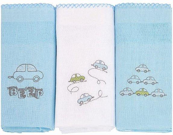 Fralda de Pano com bainha  C/3 unidades Carrinho Azul- Karinho