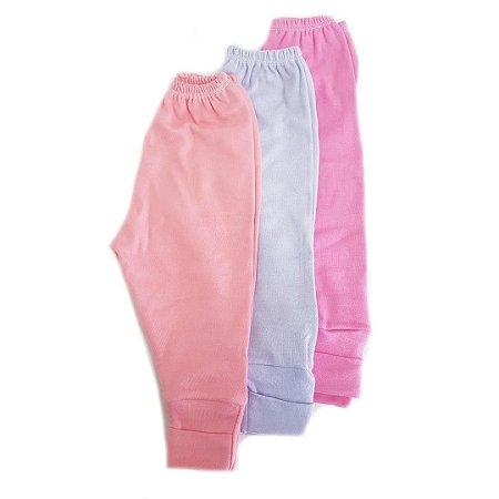 Kit de 3 calças com pé Reversível de Menina