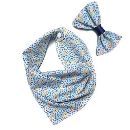 Conjunto Bandana e Laço Floral Azul
