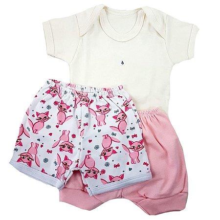 Conjunto Body + 2 shorts Menina