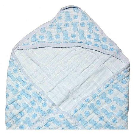 Toalha de Banho Swaddle Elefante Azul