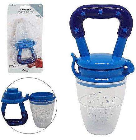 Chupeta Porta Fruta Silicone Western Baby Azul