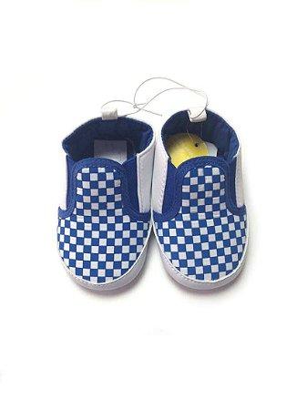 Sapatinho Xadrez azul - Tamanho 6/9 meses