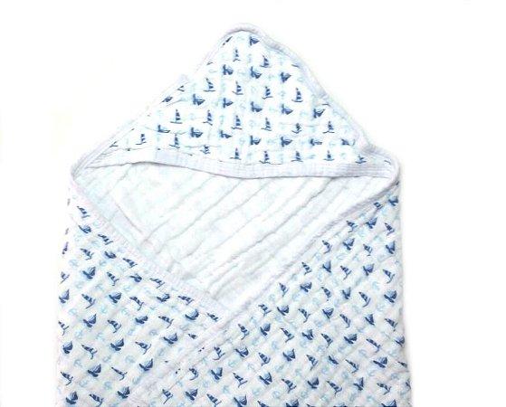 Toalha de Banho Swaddle Barquinhos Azul