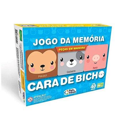 Jogo da Memória Cara de Bicho em MDF - 40 peças Pais e Filhos