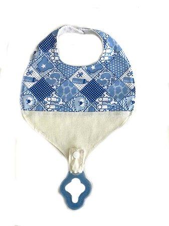 Babador com prendedor de chupeta Azul + mordedor Azul