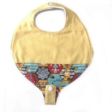 Babador com prendedor de chupeta Náutico com Amarelo 3