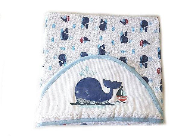 Toalha de Banho com Capuz forrada de Fralda - Baleia Azul