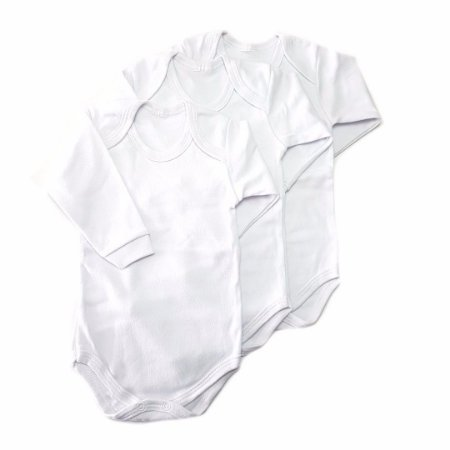 Conjunto de 3 bodys básicos brancos - manga Longa