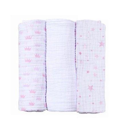 Baby Care Papi Soft Estrelinhas 80cm x80 cm - 3 unidades